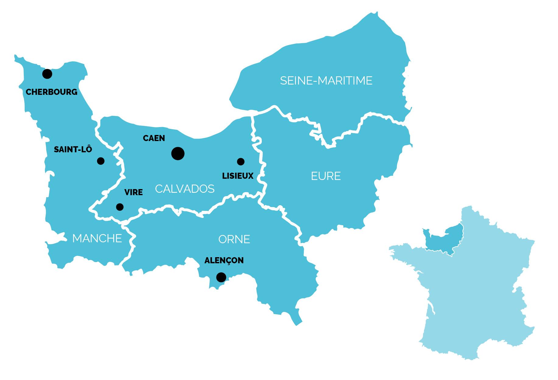 Carte Basse-Normandie avec plans des campus